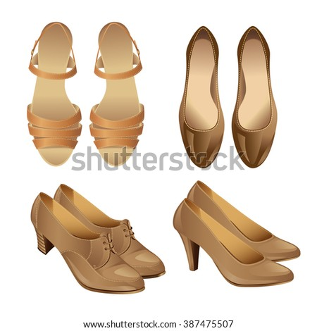 Set of various style beige shoes isolated on white background. Sandal for woman. Court shoes. Shoes with ankle strap for spanish flamenco dance. Classic shoes with laces on middle heel. - stock vector