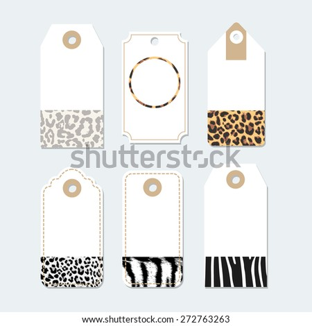 Set of various tags, labels with trendy animal skin patterns, vector illustration backgrounds - stock vector