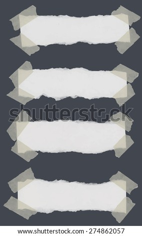 Set of various torn note papers with adhesive, sticky tape on dark gray background. - stock vector