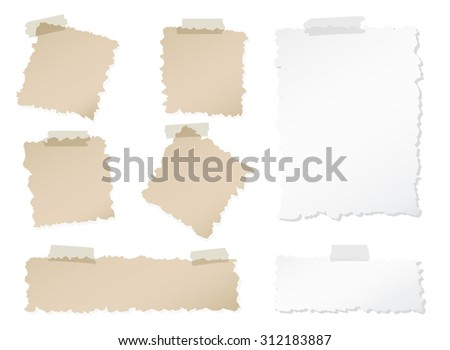 Set of various torn note papers with adhesive, sticky tape on white background - stock vector