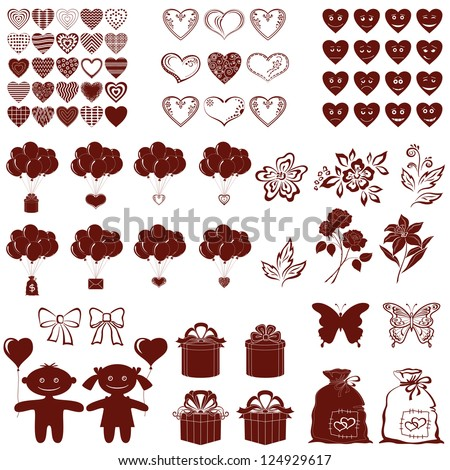Set of various valentine cartoon elements for holiday design, brown silhouettes isolated on white background. Vector - stock vector