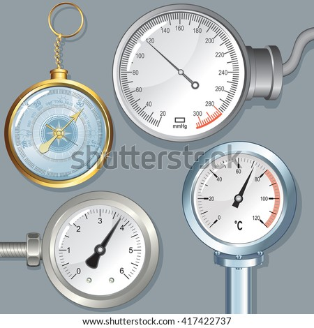 Set of Various Vector Devices with Editable Needle. Atmosphere Barometer, Manometer, Dial Thermometer, Sphygmomanometer and Pressure Gauge.  - stock vector