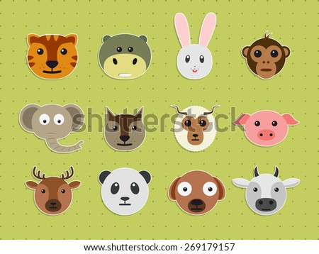 Set of various wild and pet animals faces on green background. - stock vector