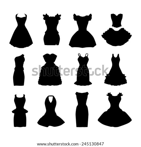 Set of  vecto silhouettes evening, casual little black dresses. - stock vector