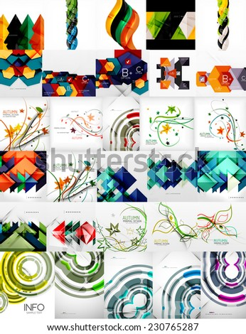 Set of Vector Abstract Backgrounds, Brochures or Flyer Templates - stock vector