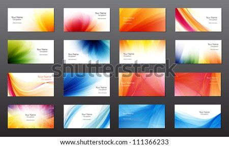 Set of 16 vector abstract bright business card / banner design templates - stock vector