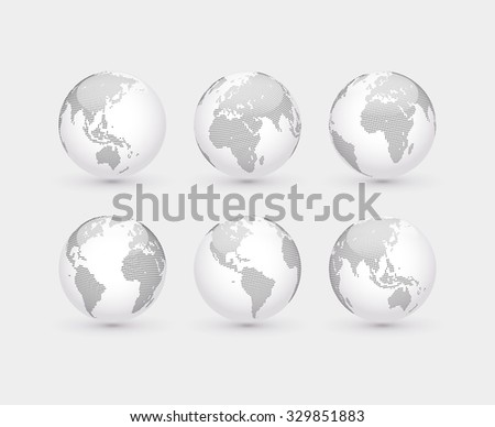 Set of vector abstract dotted globes. Six globes, including a view of the Americas, Asia, Australia, Africa, Europe and the Atlantic - stock vector
