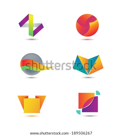 set of vector abstract geometric colorful icons, logos - stock vector