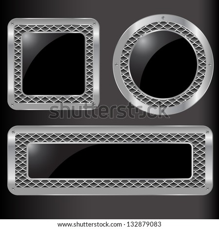 Set of vector abstract metal background-Vector illustration. Eps 10 - stock vector