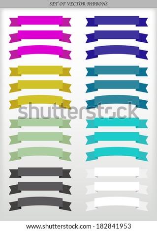 Set of vector ad ribbons - illustration - stock vector