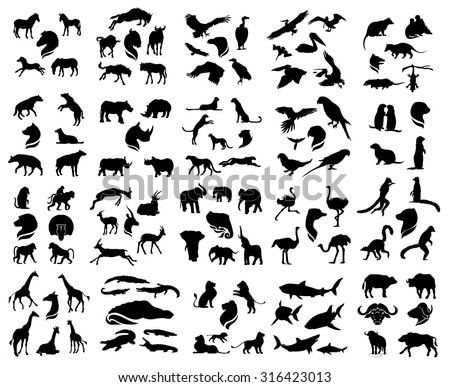 Set of vector african animals silhouettes. The big collection of wild animals. - stock vector