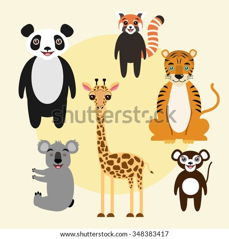 Set of vector animals. Children cartoon illustration. Cute and attractive characters. Giraffe, red panda, panda bear, monkey, tiger, koala. - stock vector