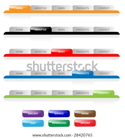 Set of vector aqua web 2.0 site navigation tabs and buttons. Easy to edit, any size. - stock vector