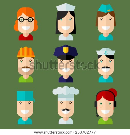 Set of vector avatar in flat design style.  - stock vector