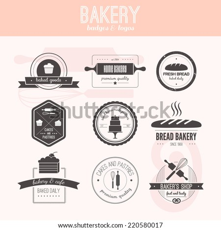 Set of vector bakery logos. Bread and pasteries labels, badges and design elements. Fresh baked goods. - stock vector