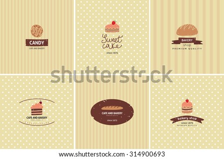 Set of vector bakery logos. Bread and pastries labels, badges and design elements. - stock vector