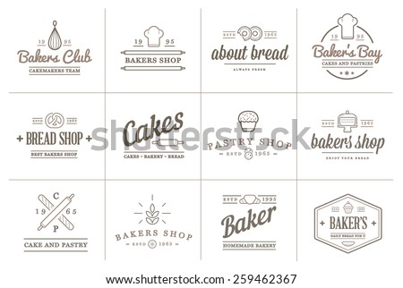 Set of Vector Bakery Pastry Elements and Bread Icons Illustration can be used as Logo or Icon in premium quality  - stock vector