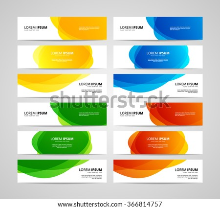 Set of vector banners design template with circle shapes background - stock vector