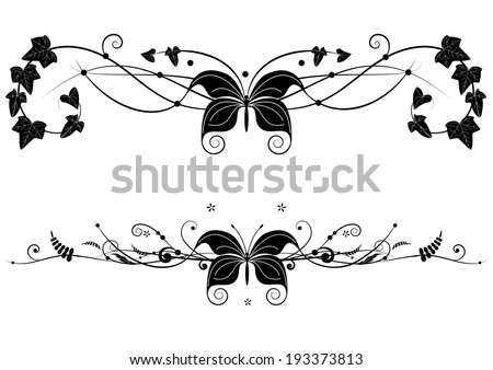 set of vector banners with butterfly and floral branches - stock vector