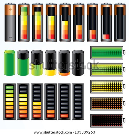 Set of Vector Battery Icons with Level of Charging - stock vector
