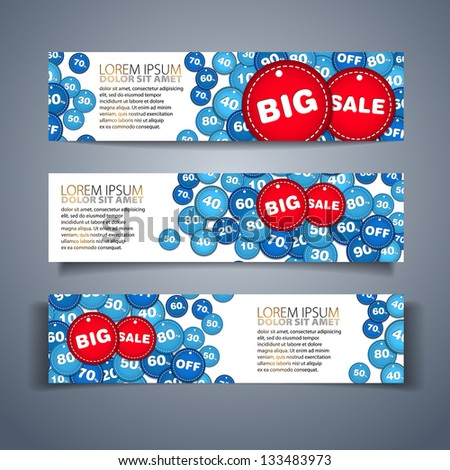 Set of vector big sale horizontal banners - with place for your text - stock vector