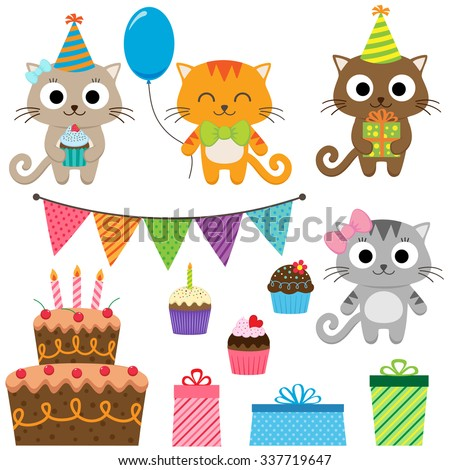 Set of vector birthday party elements with cute cats - stock vector