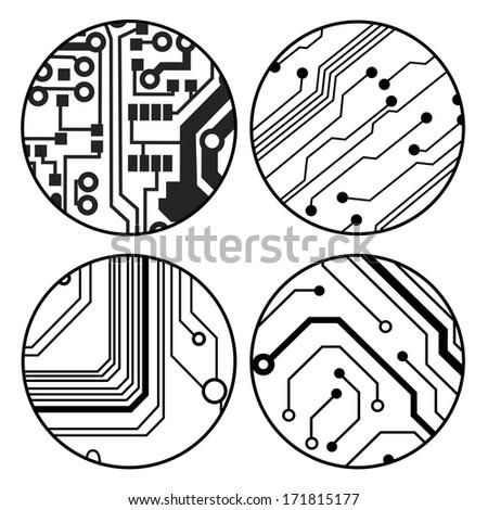 set of vector black circuit circle balls - stock vector