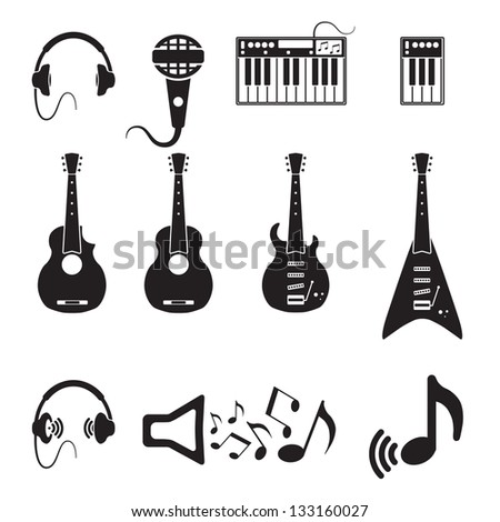 Set of vector black music icons on white - stock vector