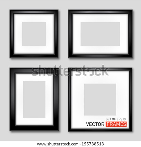 Set of vector black picture frames - stock vector
