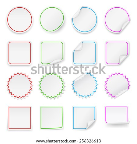 Set of vector blank stickers. Design templates for infographics and advertising. - stock vector