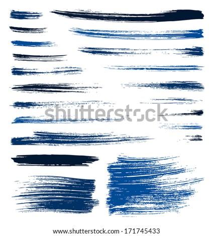 set of vector blue quality handmade brush strokes - stock vector