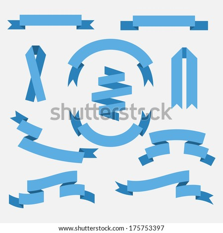 Set of vector blue ribbons for your design - stock vector