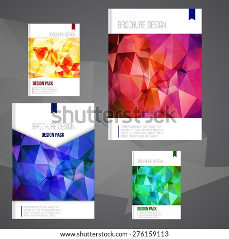 Set of Vector brochure cover design templates with abstract geometric shape, triangle background for your business. EPS10. - stock vector