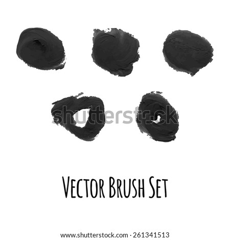 Set of vector brushes and traced elements of gouache - stock vector