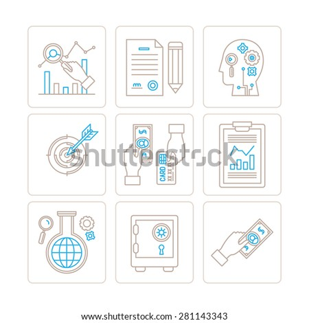 Set of vector business or finance icons and concepts in mono thin line style - stock vector
