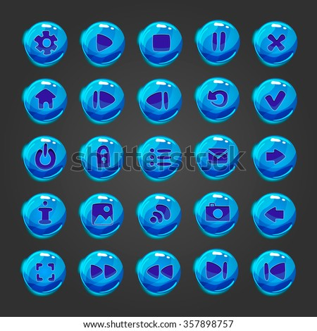 Set of vector button for game design. Mobile elements for ui game. - stock vector