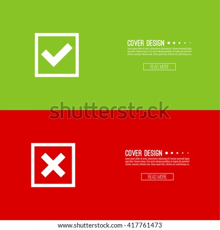 Set of vector buttons with check marks, ticks, x. checkbox. Web and mobile applications. confirmation, form of access denial, refusing. red, green. template, layout. Yes tick, no check - stock vector
