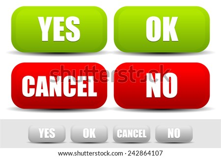 "Set of vector buttons with ""Yes, Ok, Cancel, No"" words. Confirmation yes, ok, cancel, no button set - stock vector"