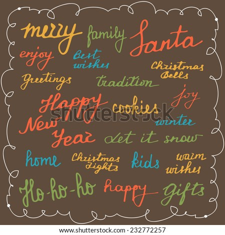 Set of vector calligraphic words and phrases. Hand drawn xmas calligraphic text elements. Merry Christmas and Happy New Year. Vector illustration. - stock vector