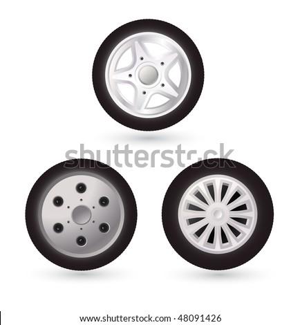 set of vector car wheels - stock vector