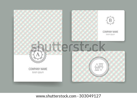 Set of vector card templates. Business card. Invitation. Modern Hipster Style for Invitation, Business Contemporary Design. Elements for Placards, Flyer. Card, for invitation or announcement - stock vector
