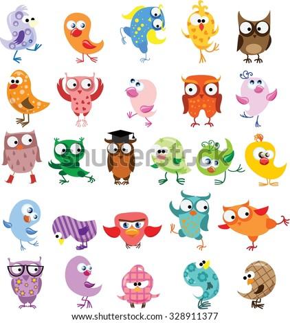 Set of vector cartoon birds - stock vector