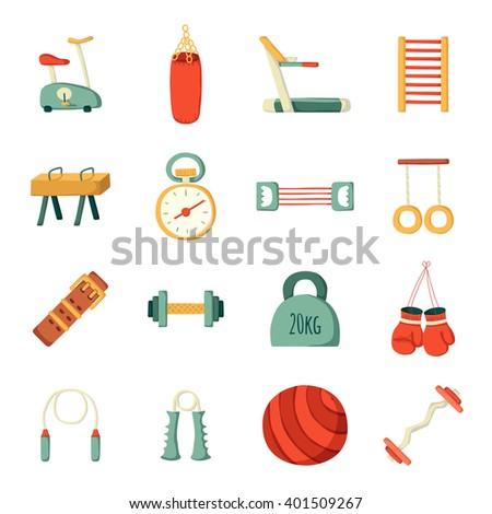Set of vector cartoon gym icons. Sport healthy life concept. Fitness equipment design. Sport gym cartoon vector objects. Indoor gym equipment. Fitness activity concept. Cartoon fitness club equipment - stock vector