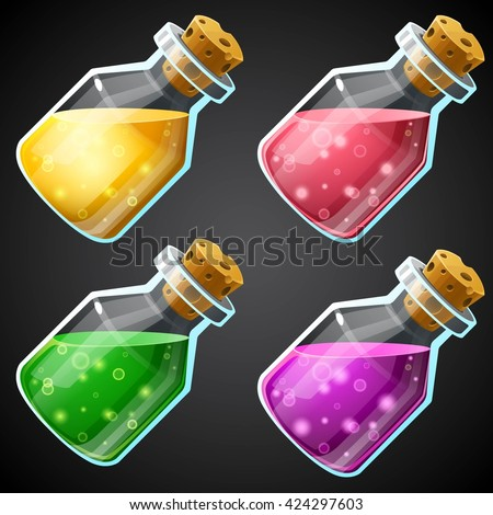 Set of vector cartoon potion bottle. Vial with colorful liquid for game icons. GUI asset. - stock vector