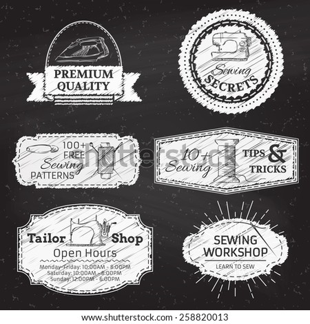 Set of vector chalk linear design elements. Sewing and fashion. Retro linear badges, labels, ribbons, frames and emblems on blackboard background. There is place for your text. - stock vector