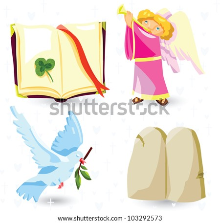Set of vector christian symbols - Holy Bible, angel, dove with olive branch, tables of testament - stock vector