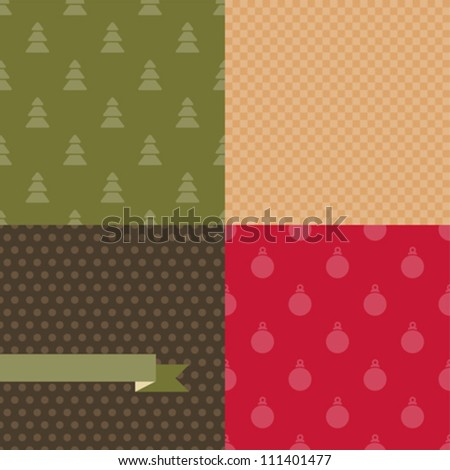 Set of 4 Vector Christmas and New Year seamless patterns. - stock vector