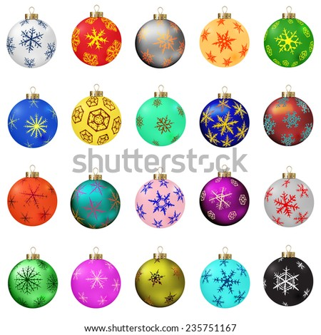 Set of vector Christmas balls with snowflakes ornament. - stock vector