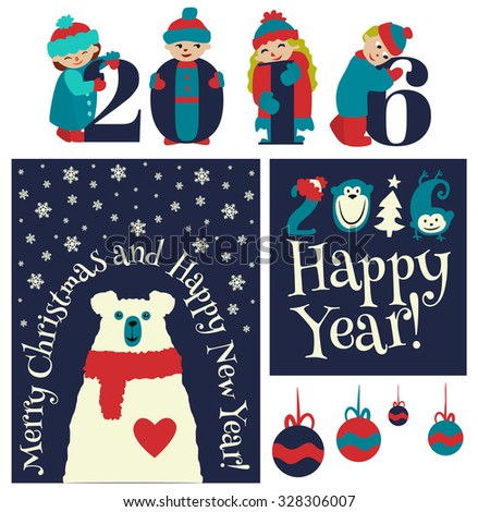 Set of vector Christmas card, colorful new year labels. Elements for Xmas design. - stock vector
