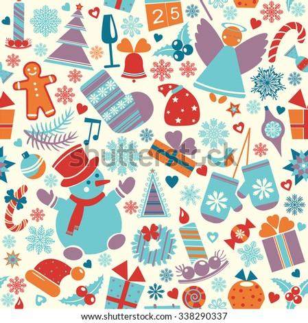 Set of vector Christmas element - cartoon new year illustration.  - stock vector
